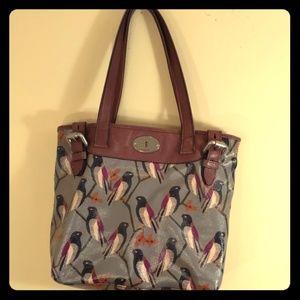 Fossil bird shoulter bag, grey body, brown straps